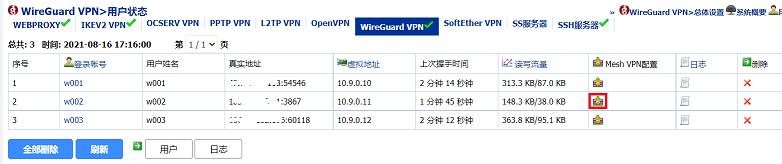 """""""WireGuard VPN>用户状态""""界面"""
